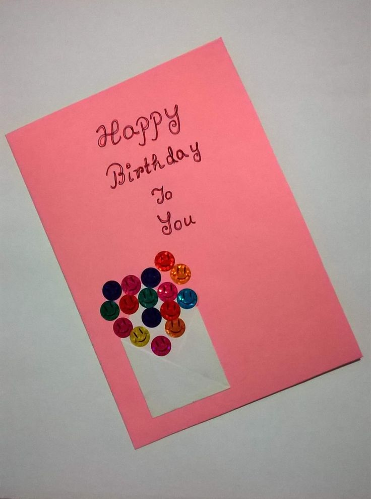 Paper and smiley collage handmade birthday card