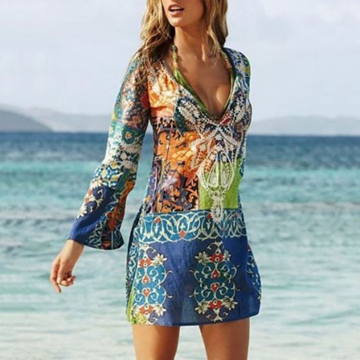 Sexy V Collar Printing Chiffon Beach Vacation Dress 3