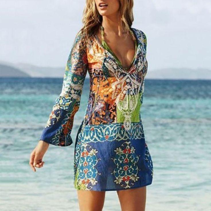 Sexy V Collar Printing Chiffon Beach Vacation Dress 1