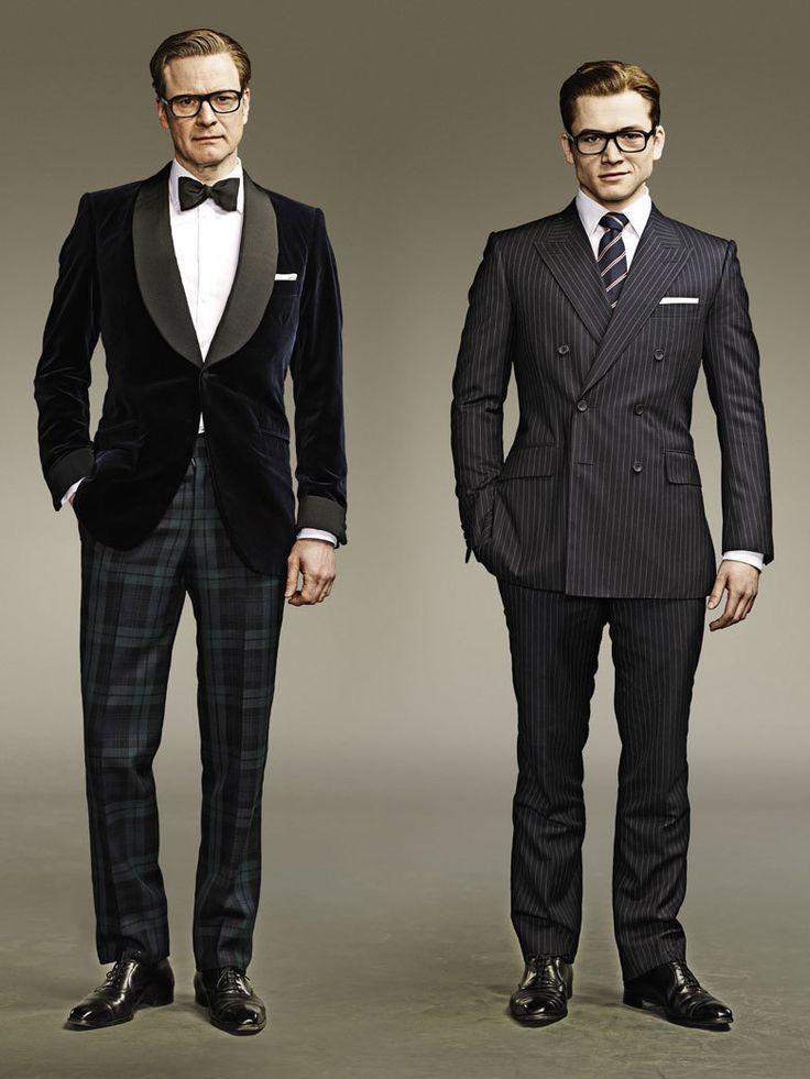 Colin Firth et Taron Egerton, héros du film Kingsman : services secrets et modèles pour le site Mr Porter.