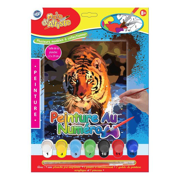 Peinture au numéro avec : Godets de peinture, pinceaux, Feuilles d'entraînement et feuille cartonnée. Plusieurs modèles à collectionner - 030040 - www.mgmjouet.com