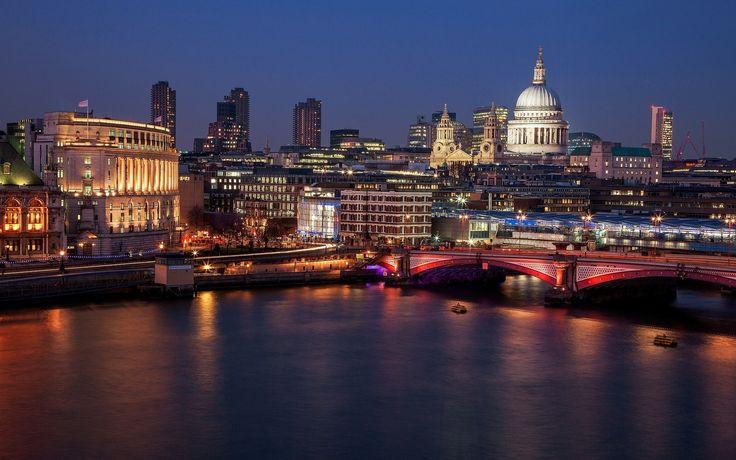 собор святого павла, southwark bridge, london, лондон, england, англия, great britain, великобритания, город, вид, огни, ночь, вечер, река