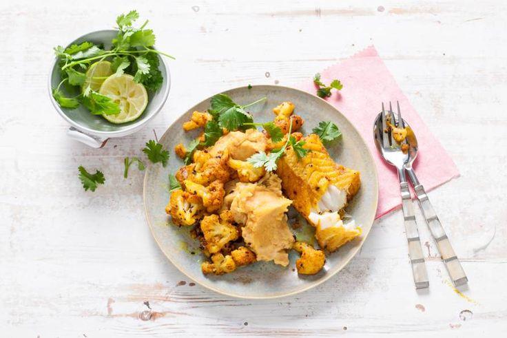 Indiaas gekruide kabeljauw en zoete-aardappelpuree met linzen (Allerhande) met gefrituurde tofu ipv kabeljauw (en zonder yoghurt) is het veganistisch