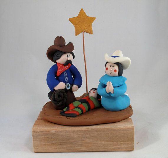 Western Cowboy Handmade Christmas Nativity Set by ClayTwister