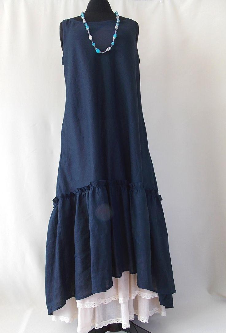 Set dress and petticoat. Women Maxi Dress Pluse Size. Linen 100%. Boho dress Asymmetrical Kaftan by BohoEklektika on Etsy