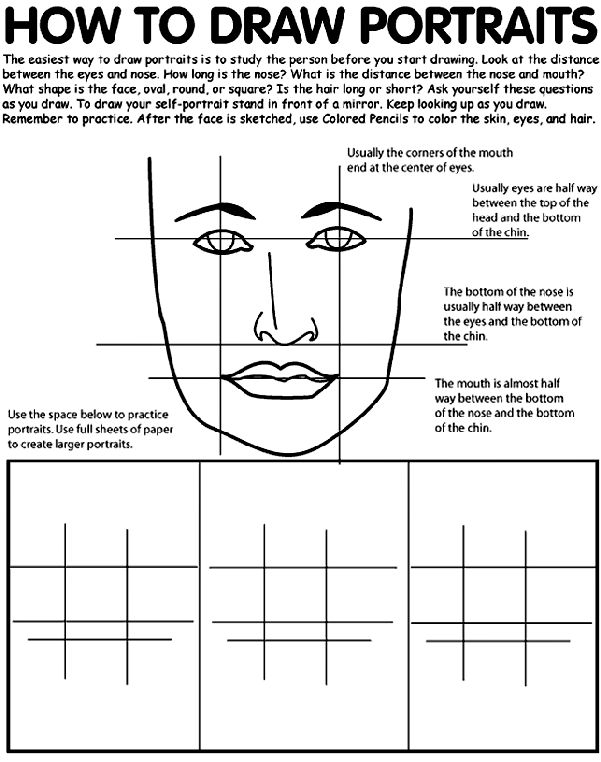 Use Crayola® colored pencils to draw portraits. Follow the steps to learn how to draw like a real artist!  1. The easiest way to draw portraits is to study the person before you start drawing. Look at the distance between the eyes and nose. How long is the nose? What is the distance between the nose and mouth? What shape is the face, oval, round, or square? Is the hair long or short? Ask yourself these questions as you draw.   2. To draw a self-portrait stand in front of a mirror. Keep…