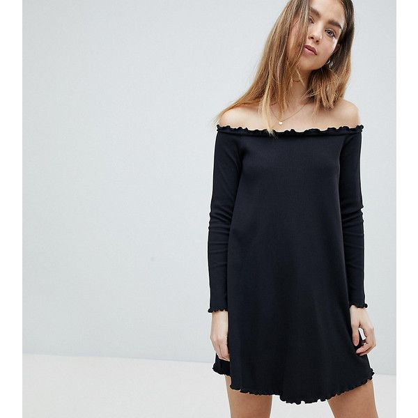 ASOS PETITE Babylock Rib Off Shoulder Mini Dress (255 HKD) ❤ liked on Polyvore featuring dresses, black, petite, mini dress, off shoulder denim dress, short dresses, long sleeve mini dress and long sleeve denim dress