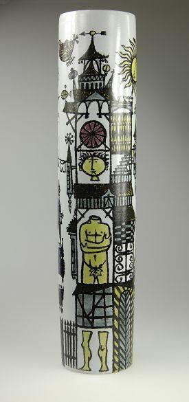 Stig Lindberg; Glazed Ceramic 'Karneval' Vase for Gustavsberg, 1950s.