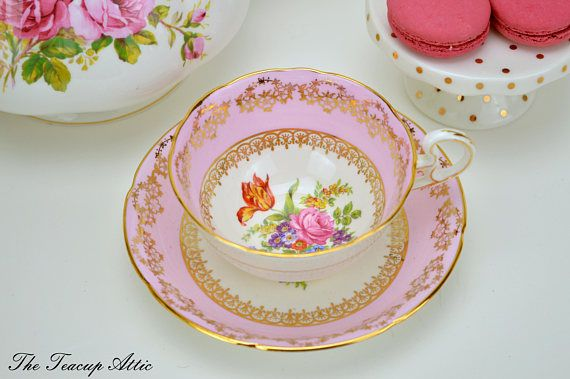 Royal Grafton Pink Teacup and Saucer With Floral Center
