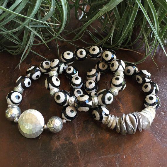 Tibetan DZI Tribal Triple Set Bracelet by JewelrybyKellyWalker