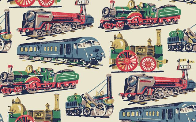 Cath Kidston - Our new Trains print my dad would of like this