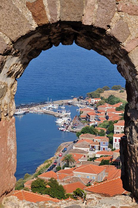 View of Molyvos Village from de Castle in Lesvos Island_ Greece