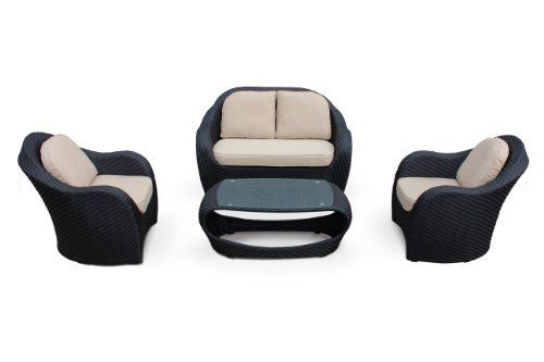 """Penia 4 Piece Sofa Conversation Set By Luxus Outdoor Patio Furniture Set Garden Table Chairs Wicker Garden Home Backyard Porch Lounge by Luxus B. $1299.00. Seat Cushions 3.9"""" with piping and Back Cushions 3.2"""" with piping. Aluminum Frame and All Weather Wicker   http://www.virofiber.com/. 1 Love Seat: 55.5"""" x 35.8"""" x 34.6"""" and 2 Single Sofas: 33.9"""" x 35.8"""" x 34.6"""". 4 Piece Sofa Convers. Coffee Table (with glass .2"""" ): 23.6"""" x 45.7"""" x 17.3"""". The Penia 4 Piece Sofa Conversa..."""