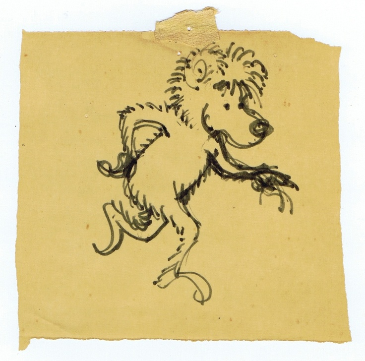 The very first image Jan and Stan sketched of the Berenstain Bears.  This little bear was taped to their studio wall for many years.