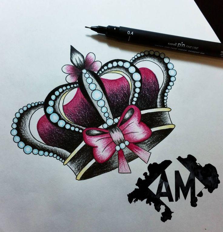 """""""¿Quién se siente una princesa? Si lo quieres para tattoo, mándame un privado! • Mi propio hashtag: #ArtOfTheDraw • #LovePink #Corona #Crown…"""""""