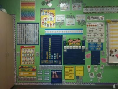 Interactive Math Wall: Math is my favorite subject to teach.   In First grade calendar is a big part of our daily routine.