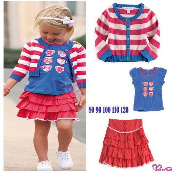 NEW 2013 Free shipping children dress girls set High quality striped shirt+t-shirt+skirt=3pcs fashion sets $67.28