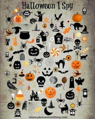Halloween I Spy Game {free printable}--usable in class for direct object pronouns game or game with numbers on Halloween