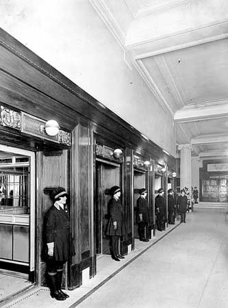 Lift girls, Selfridges, 1928