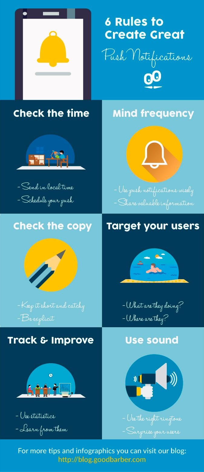 [ Infographic ] 6 Rules to Make Great Push Notifications! #Infographic #mobile #tips #engagement #pushnotifications