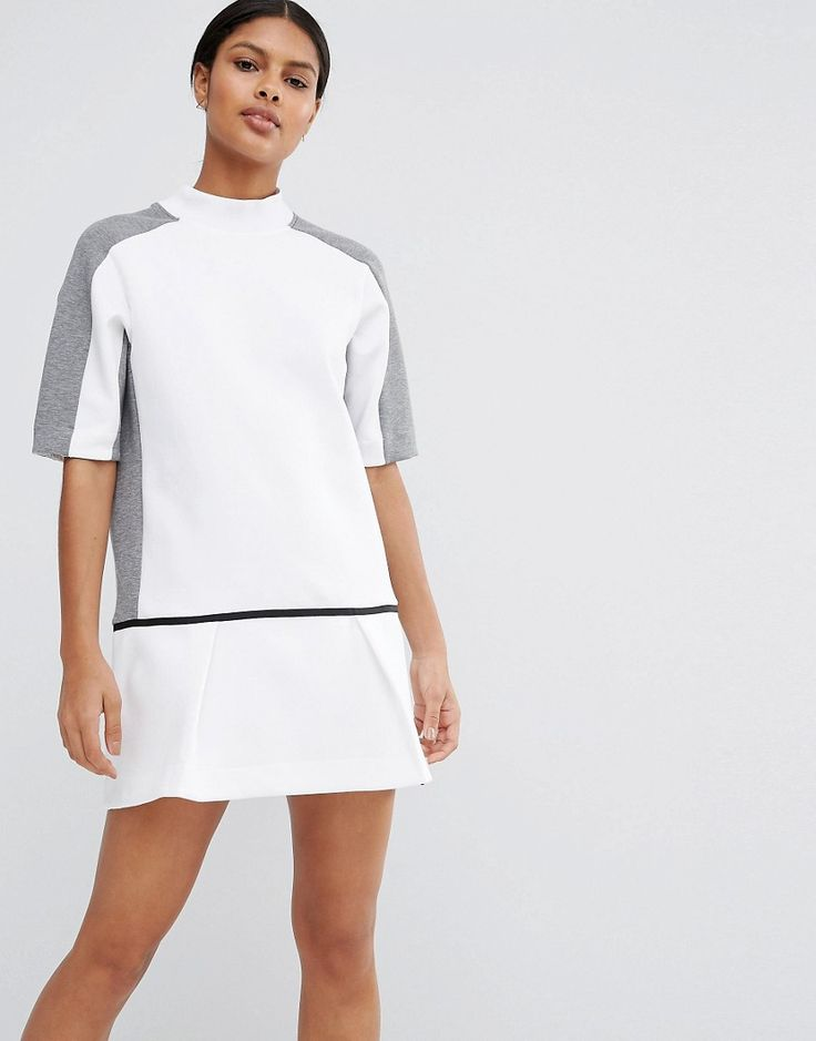 Image 1 of Nike Premium Court Sweat Dress With Drop Waist