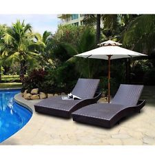 """Outdoor Patio Furniture PE Wicker Adjustable Pool Chaise Lounge Chair Rattan 79"""""""