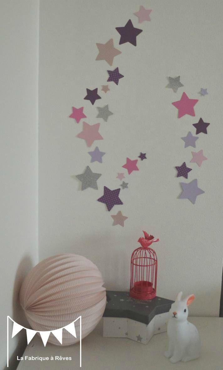 lot stickers étoiles parme violet rose argent - décoration chambre ...