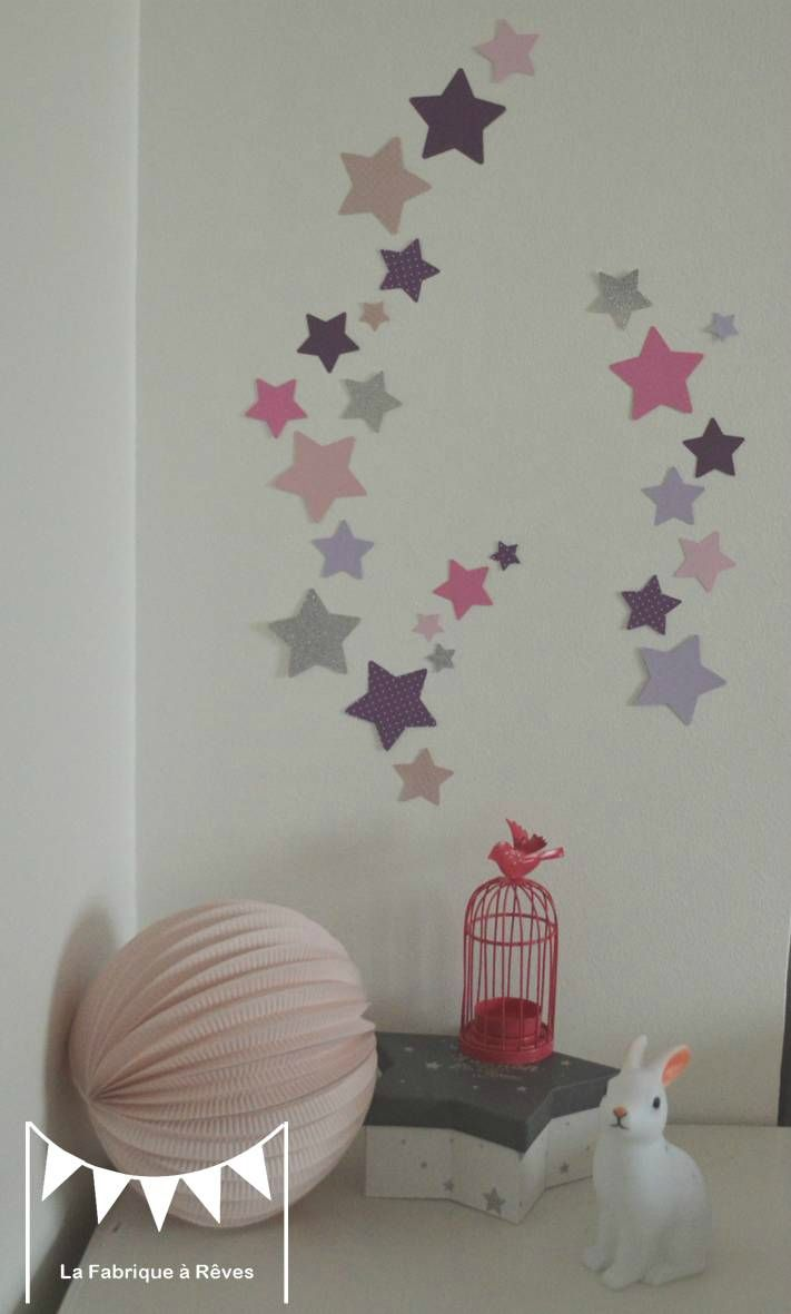 lot stickers étoiles parme violet rose argent - décoration chambre fille bébé rose parme argent