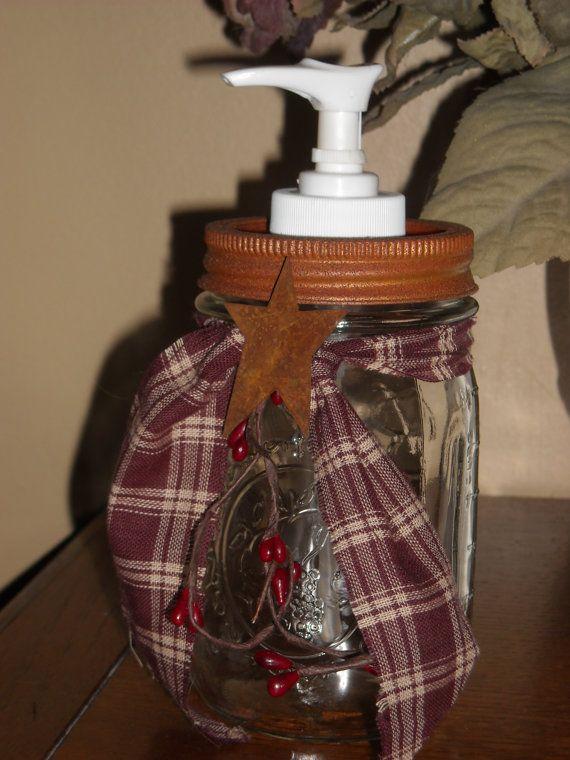 Country Primitive Mason Jar SOAP DISPENSER by MyCountryStore, $12.99 WANT xONE PER SINK!