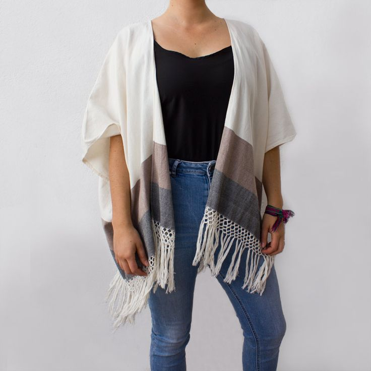 WIND FLOW OPEN PONCHO (duo) | Candor Home www.candorhome.com