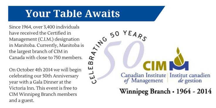 CIM Winnipeg branch will be celebrating their 50th Anniversary on Oct 4, 2014. For more info, visit http://bit.ly/1DxrnVU