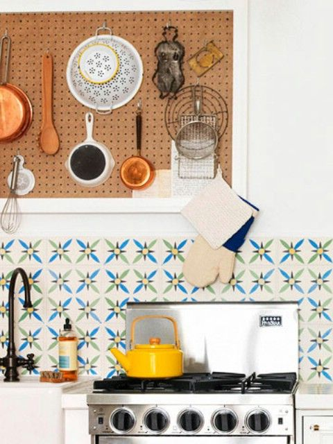 Don't care about this article... This kitchen is adorbs! Organizing with a Pegboard