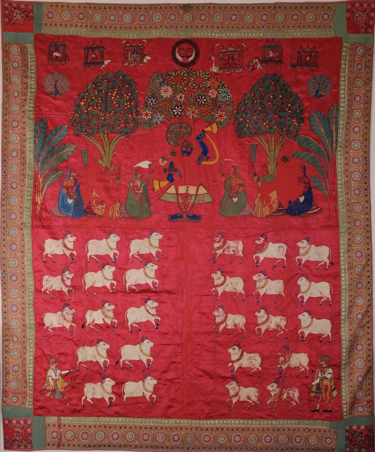 Mochi work embroidered Pichhvai from Gujarat, 19th century.
