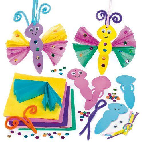 """3D-Anhänger """"Schmetterlinge"""" mit Seidenpapier - zum Basteln für Kinder - Fensterdeko(4 Stück): Amazon.de: Spielzeug"""