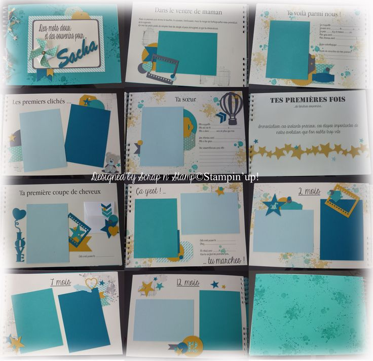 Livre de naissance - A4 paysage - Camaïeu de bleu avec une touche de jaune pour donner du pep's.