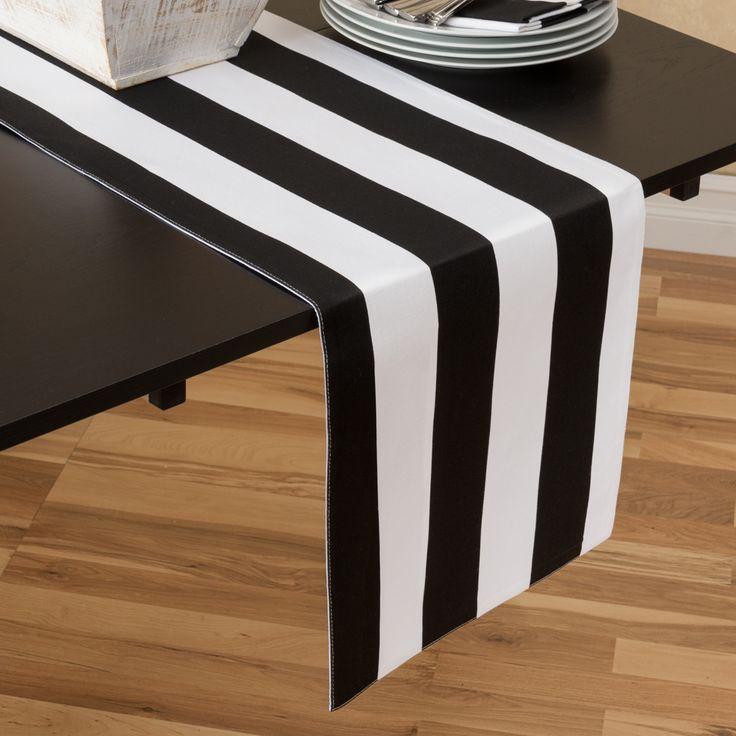 13 x 90 in black white stripes table runner for 102 table runners