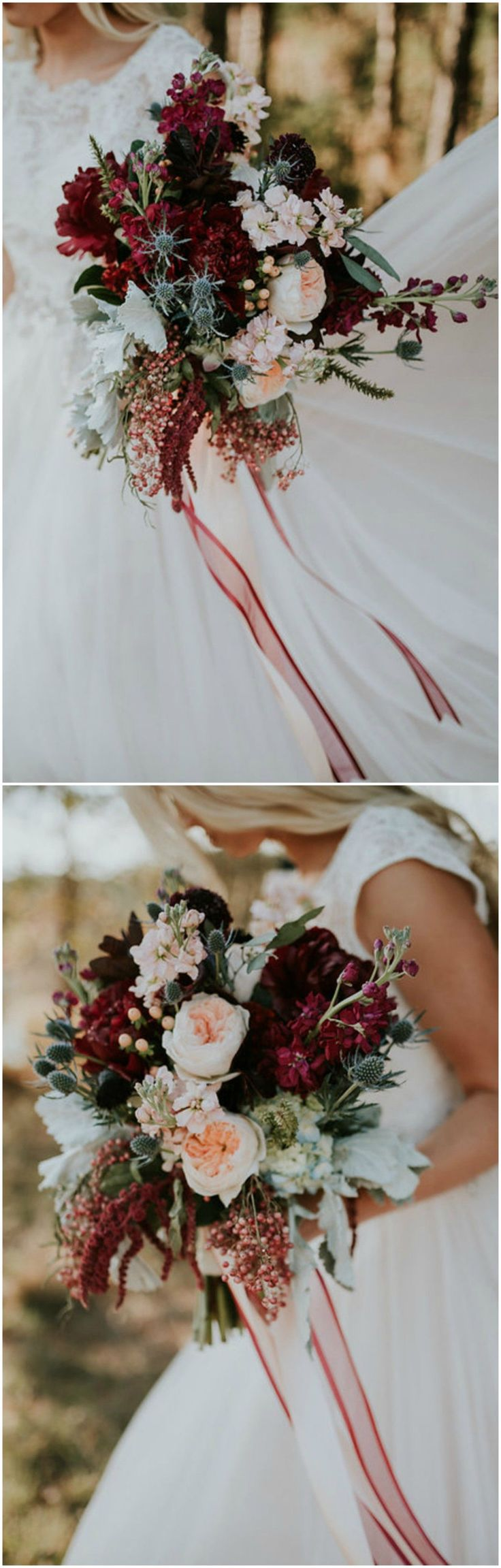 Romantic wedding bouquet, peach and wine colored florals, red ribbons // Moriah Elisabeth Photography