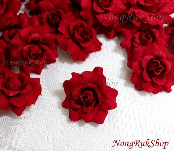 10 Red Roses Artificial Silk Flower Heads for by nongrukshop, $2.99