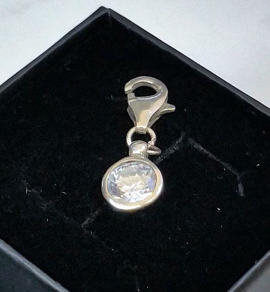 Vintage Anhänger - Charm Silber 925 Bettelarmband Kristallstein SK927 - ein Designerstück von Atelier-Regina bei DaWanda