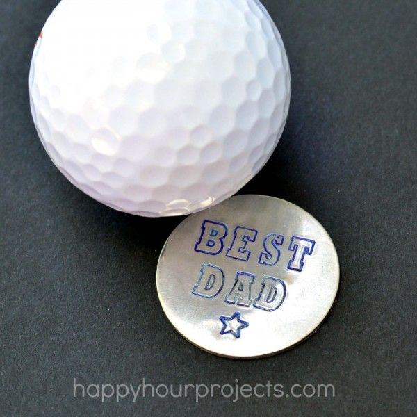 Fathers Day Gift Idea: Hand-Stamped Golf Ball Marker at www.happyhourprojects.com
