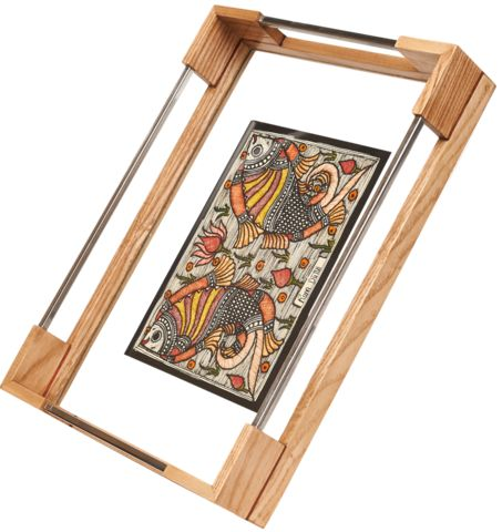 Madhubani Tray in White Oak and Stainless Steel - Double Fish