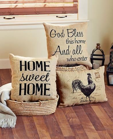 Vintage Country Burlap Decorative Pillows Home Sweet Home Bless Rooster Accent