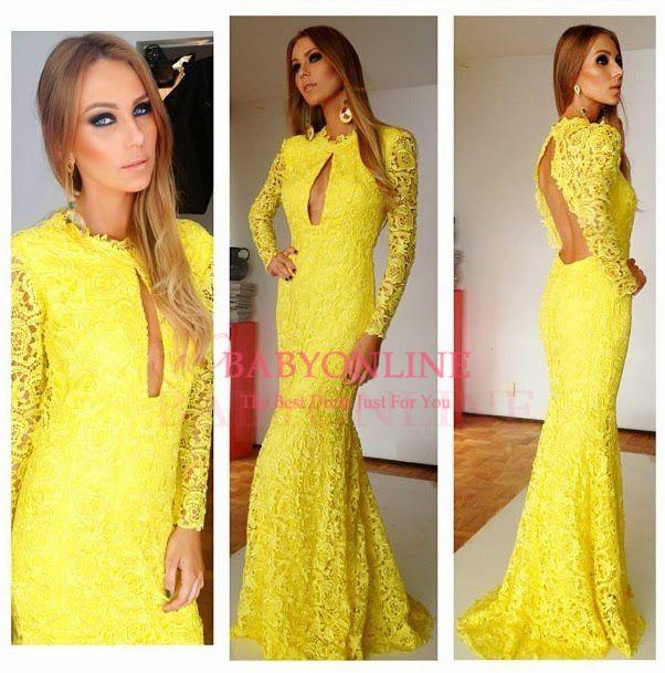 floor length vestidos formales party dresses yellow long sleeves backless fishtail vestido de festa longo BO3696 $158  15% discount off.