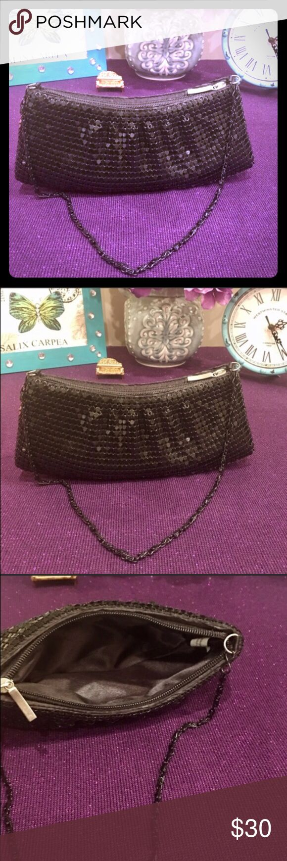 "Vintage Black duo 2 for 1 sequin Clutch & coin Gorgeous Vintage chained zipper sequin clutch with vintage zippered coin purse both excellent condition! Slight wear signs vintage Clutch 8.5"" x 4"" .5""  coin purse 5"" x 4 "". Vintage Bags"