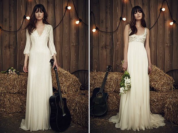The Lara dress from Jenny Packham's 2017 collection offers a subtle way to cover your arms, while Candie features an embellished bust. #weddingdresses #longsleevedweddingdresses #bridalstyle #bohobrides #countryweddings