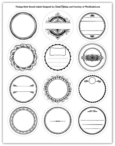 Use these vintage designed round labels for jars and tin containers. Use them for wedding favor gifts, organizing your kitchen and personal items.