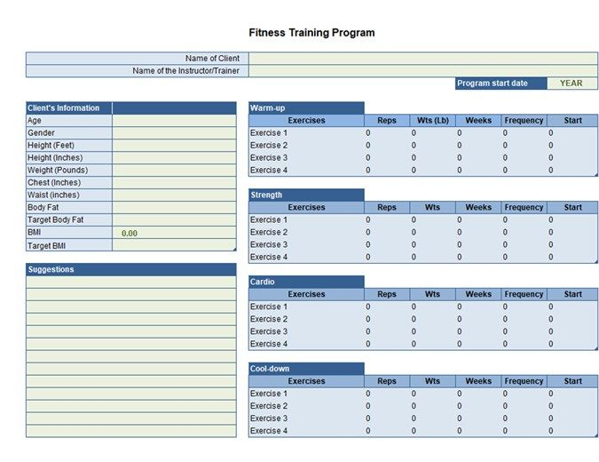 Exercise Planner Personalized Workout Plan Fitness Planner Workout Plan