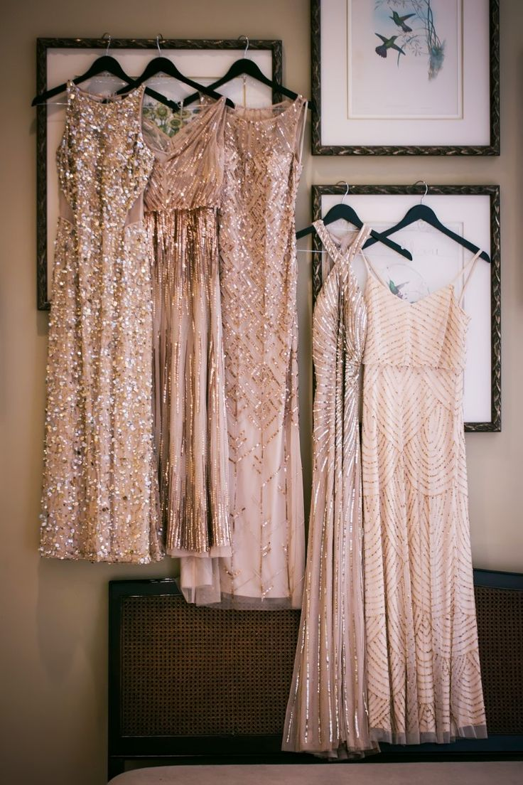 Glamorous sequin sparkly birdesmaid dresses in shades of blush (Limelight Photography)
