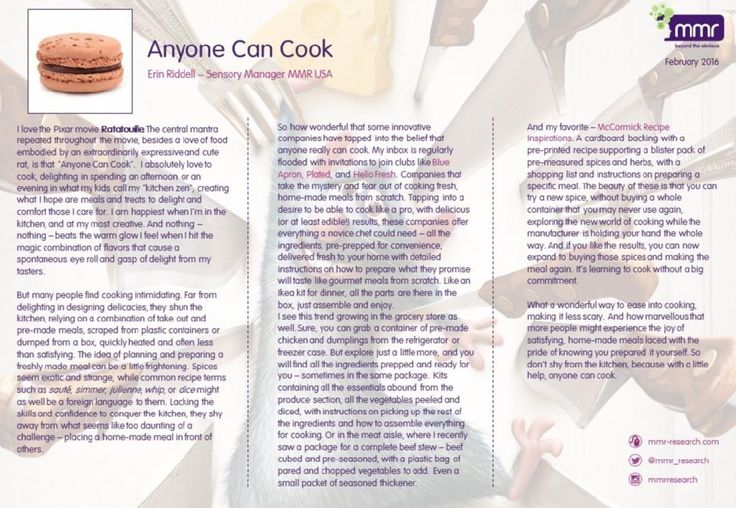 BLOG: Anyone Can Cook - by MMR Sensory Manager Erin Riddell. For more like this, visit the MMR blog - www.mmr-research.com/blog