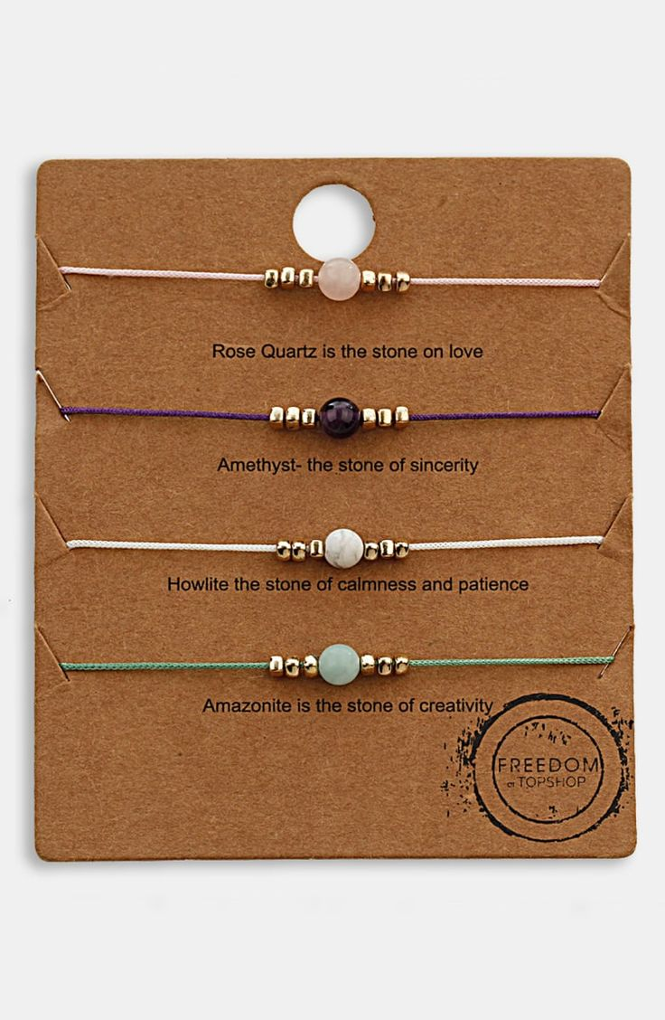 Free shipping and returns on Topshop 'Message' Friendship Bracelets (Set of 4) at Nordstrom.com.   Colorful stones center a wuartet of adjustable friendship bracelets for a simply lovely accessory.